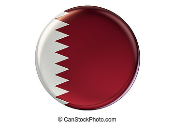 Badge with flag of Qatar, 3D rendering isolated on white...