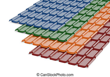 Colored Roof Tiles, 3D rendering - Colored Metal Roof Tiles,...