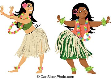 Hula dance lesson - Hula dance teacher and student...