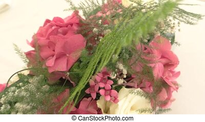Top view of bouquet. White and pink flowers. How to decorate...