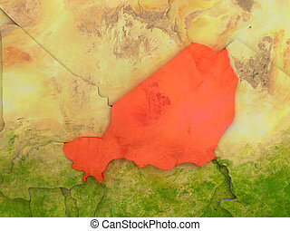 Niger in red - Top-down view of Niger highlighted in red...