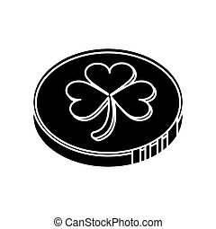 silhouette st patrick day coin sign vector illustration eps...