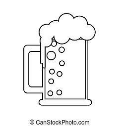 saint patrick day mug of beer foam bubbles cold outline