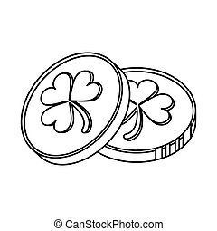 st patrick day coins sign outline