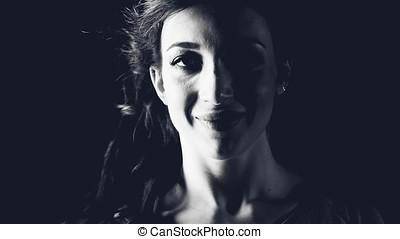 portrait of a girl in hard light, emotions