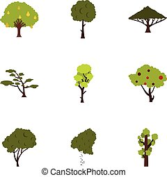 Woody plants icons set, flat style - Woody plants icons set....