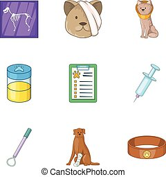 Pet veterinary clinic icons set, cartoon style