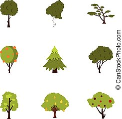 Kind of trees icons set, flat style - Kind of trees icons...