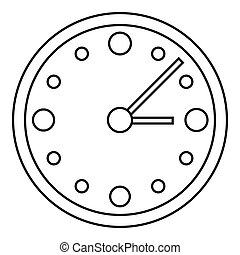 Big wall clock icon, outline style - Big wall clock icon....