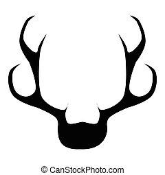 Deer horns icon, simple style - Deer horns icon. Simple...
