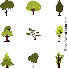 Arboreal plant icons set, flat style - Arboreal plant icons...