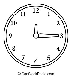Round wall clock icon, outline style - Round wall clock...