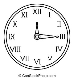 Wall clock icon, outline style - Wall clock icon. Outline...