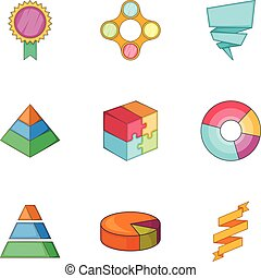 Business infographic icons set, cartoon style - Business...