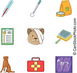 Pet health icons set, cartoon style