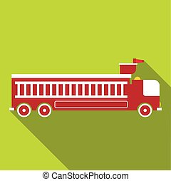 Fire engine icon, flat style - Fire engine icon. Flat...