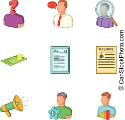 Employment agency icons set, cartoon style
