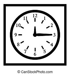 Square wall clock icon, simple style - Square wall clock...