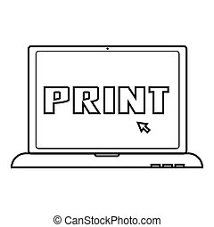Print icon, outline style - Print icon. Outline illustration...