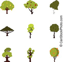 Types of trees icons set, flat style - Types of trees icons...