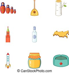 Symbols of Russia icons set, cartoon style