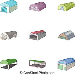 Storehouse, icons set, cartoon style - Storehouse icons set....