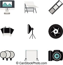 Photo icons set, flat style - Photo icons set. Flat...
