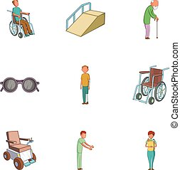 Accessibility icons set, cartoon style - Accessibility icons...