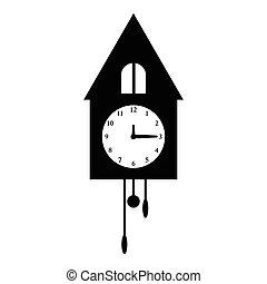 Old wall clock icon, simple style - Old wall clock icon....