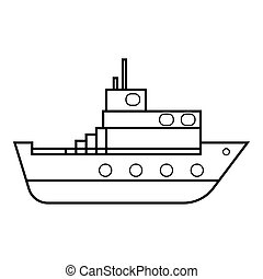 Ship icon, outline style - Ship icon. Outline illustration...