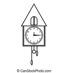 Old wall clock icon, outline style - Old wall clock icon....