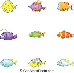 Tropical fish icons set, cartoon style - Tropical fish icons...