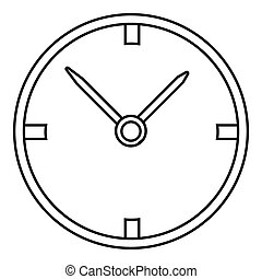 Small wall clock icon, outline style - Small wall clock...
