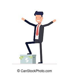 Happy businessman or manager standing on a carton box with money. Vector, illustration EPS10.