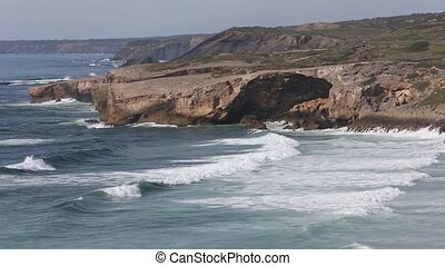 Summer Atlantic ocean coast. Algarve, Portugal. - Summer...