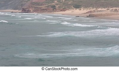 Atlantic surf waves, Algarve, Portugal. - Atlantic surf...