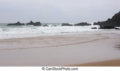 Atlantic ocean beach and storm, Portugal. - Atlantic ocean...
