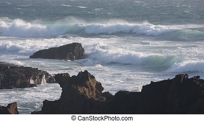 Atlantic ocean storm, Portugal. - Waves breaking on rocky...