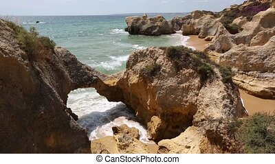 Rock formations (Algarve, Portugal). - Summer Atlantic coast...