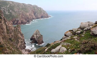 Atlantic rocky coast view, Portugal. - Atlantic ocean coast...