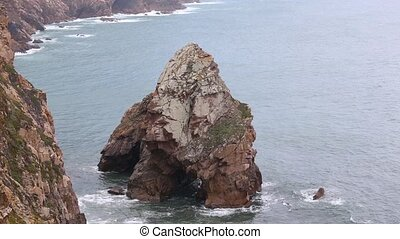 Rock near shore, Portugal. - Rock formations near rocky...