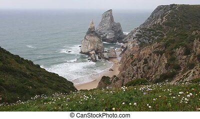 Atlantic coast view in misty weather, Portugal. - Atlantic...