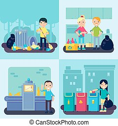 Flat Waste Concept - Flat waste concept with people...