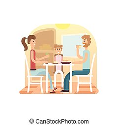 Family holiday cartoon concepts.  dinner set. Mom, dad, daughter at . Vector flat illustration.