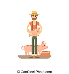 farmer with fanny pig isolated. carton illstration of...