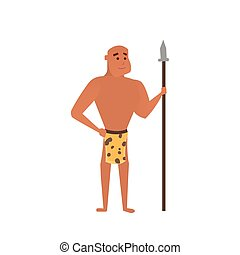 Vector prehistoric man. Caveman cartoon illustration