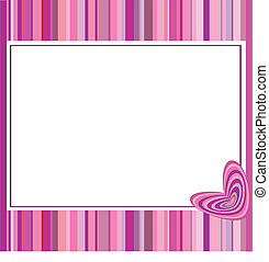Pink frame with hearts and stripes.