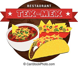 Tex mex food banner vector - Tex mex food banner on wooden...