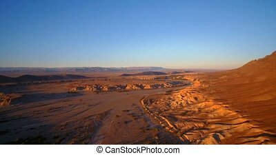 Aerial, Flying Over Palm Oasis Along Mountains At Tissint,...
