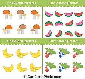 Children s educational game. Find two same pictures. Vector illustration